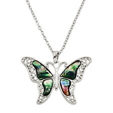 "Butterfly Charm Pendant Fashionable Necklace - Abalone Paua Shell - 18"" Chain"