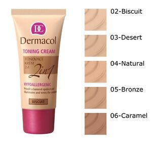 DERMACOL Toning CREAM Moisturizing And Foundation 2in1 Hypoallergenic 30ml