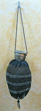 Antique Victorian Beaded & Crochet Purse Repousse Gate Top Closure