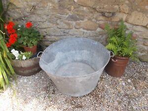 Galvanised tub,large vintage bucket, French, Plant Display,wine cooler, planter,