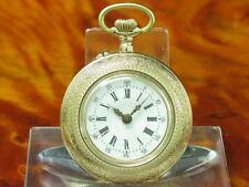 kleine 14kt 585 Gold Open Face Taschenuhr / edle Emaille Handarbeit / 31,8 mm