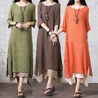 Womens Solid Long Maxi Dress Loose Summer Holiday Casual Kaftan Plus Size 8-22