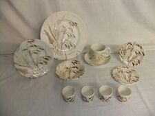 c4 Pottery English Ironstone Tableware - Wild Oats brown, embossed, vintage 7F3C