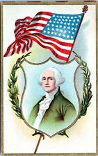 1910 George Washington Patriotic President July 4th Flag Embossed Postcard EI