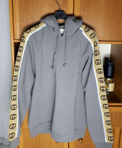 Gucci Men's Dark Grey Hoodie Reflective GG Logo Size Large