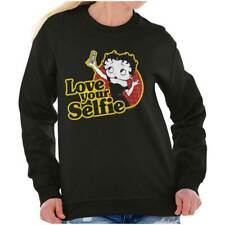 Love Your Selfie Betty Boop Fashion Cartoon Sweat Shirt Sweatshirt For Womens