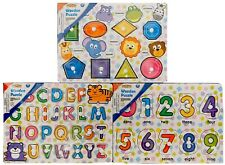 NEW Lot Of 3 Real Wood Toys Wooden Peg Puzzle Alphabet, Numbers, & Shapes