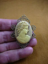 (CM21-16) LOVELY WOMAN curls hair tan + ivory CAMEO oval Pin Pendant Jewelry