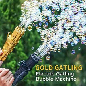 Outdoor Gatling Bubble Machine Bubbler Maker Automatic Bubble Toy Gun - Black