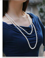 60 inch classic AAA 9-10mm south sea white round pearl necklace 14k