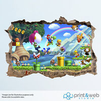 Super Mario Wall Smash Decal Sticker 3D Bedroom Vinyl Mural Art