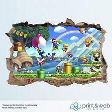 Super Mario Wall Smash Decal Sticker 3D Bedroom Vinyl Mural Art
