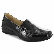 LADIES WOMEN WIDE FIT SHOES LOW WEDGE LEATHER LINING WORK MOCCASIN CASUAL LOAFER