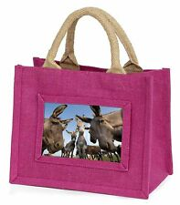 Donkeys Intrigued by Camera Little Girls Small Pink Shopping Bag Chri, DONK-2BMP