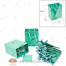 """New listing 12 Glossy Teal Blue Finish Paper Tote Gift Merchandise Bags 3"""" x 2"""" x 3 1/2""""H"""