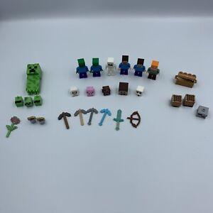 LEGO Minifigure Lot Minecraft Zombie Steve Alex Skeleton Creeper Tools Weapons