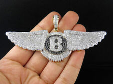 Men's Solid 14K Yellow Gold Finish Diamond Bentley B Wings Pendant Charm 2.1Ct.