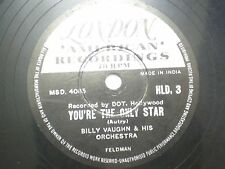 "BILLY VAUGHN & HIS ORCHESTRA HLD 3 INDIA INDIAN RARE 78 RPM RECORD 10"" VG-"