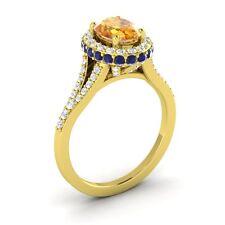 14k Yellow Gold 1.80CTW CITRINE, SAPPHIRE DIAMOND HALO SOLITAIRE ENGAGEMENT RING