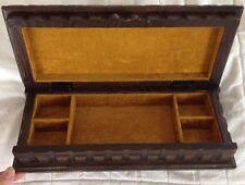 Vintage Carved Oak Jewlery Box**