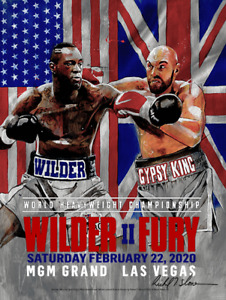 FURY vs WILDER 2 Official Onsite fight poster by Richard T. Slone 18 X 24