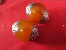 Pair Big Nepal 20X18mm Beeswax Amber 925 Sterling Silver Repousse Amulet Beads