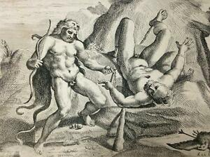 OLD MASTER Print ~ JACQUES BELLY ~ 1641 Carracci HERCULES & PROMETHEUS