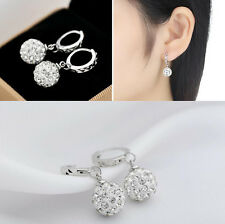 925 Silver Plated Shamballa Disco Ball Hoop Earrings FOR Women Girls