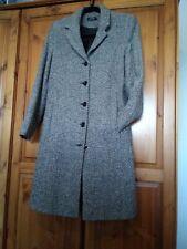 Ladies Trench Woollen Blend Coat 10 black/white tweed pattern
