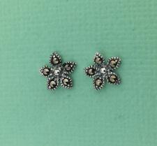 Pretty Solid Sterling Silver Marcasite Stud Flower Earrings