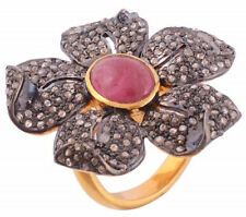 Victorian Look 925 Silver Cocktail Ring 3.60cts Rose Cut Diamond Ruby Antique