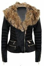 Ladies Long Sleeve Faux Fur Collar Stripe Mesh Lined PVC Side Zip Biker Jacket