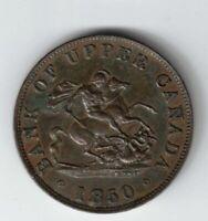 1850 BANK OF UPPER CANADA HALF PENNY COPPER TOKEN PROVINCE OF CANADA