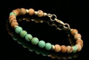 Turquoise ankle bracelet men women, beach anklet, march birthstone jewelry men