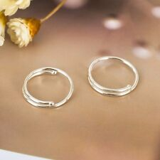 925 Sterling Silver Solid 10MM Piercing Round Plain Huggie Hoop Earrings Jewelry