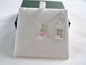 1.80 Ct. PInk Topaz Briolette  & Peridot  14k White Gold Pendant & Necklace