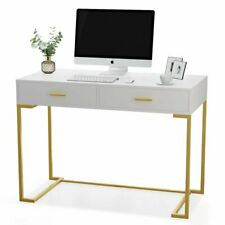 Computer Desk Workstation with 2 Storage Drawers Simple and Modern Vanity Table