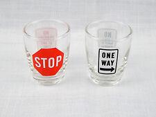 Set of 2 Road Signs Shot Glasses Stop Sign, No Parking, One Way, No Left 1.5 oz