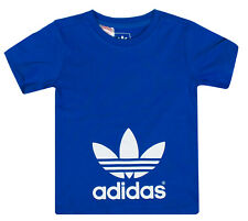 adidas Originals AC Trefoil Logo Baby Kids Boys T-shirt Blue White 68 6mo Blue
