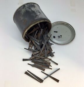 """Vintage Square Head Flat Nails In Can - 126 PCs - 2 1/4"""""""