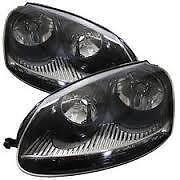 VW GOLF MK5 03-09  BLACK HEADLAMPS HEADLIGHTS HALOGEN PAIR NEW