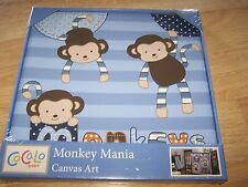 "Cocalo Baby Monkey Mania Canvas Art Nursery Decor Wall Hanging Blue 12 X 12"" N"