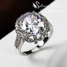 18K White Gold Plated Simulated Diamonds Studded Halo Oval Cut Engagement Ring