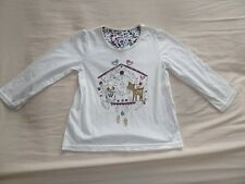Matalan Girls White Long Sleeve 100% Cotton T-Shirt Size 3-4 Years