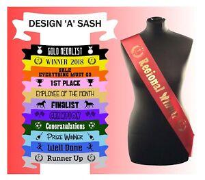 Personalised Custom Made Sash Sashes Sports Winner Champion Horse competition