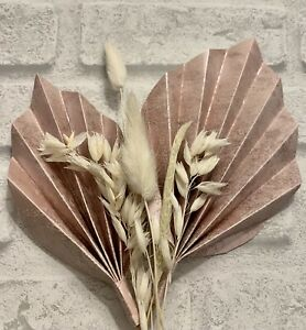 2 Rose Pink Palm Spears And Dried Flowers For Cake Decoration , Cake Topper