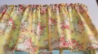 """Yellow Valance Pale Pink Shabby Chic Roses Window Curtain Cotton 43""""W x 15""""L"""