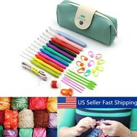 30Pcs Crochet Hooks Kit ECO Yarn Knitting Needles Sewing Tools Grip Set With Bag