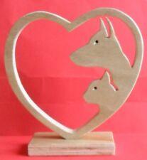 Chien chat entouré coeur animaux bois fait main trophée art design objet