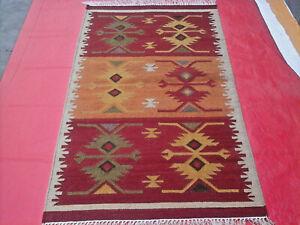 Old Traditional Hand Made afghan Kilim Rug 3' x 5' Hand Woven Wool Rug 3x5 feet